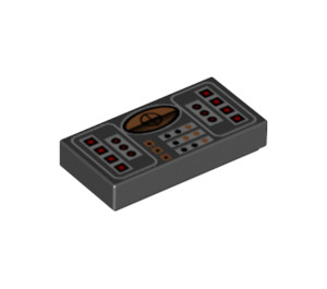 LEGO 1 x 2 Tile with Orange, Red, and Silver Avionics Pattern with Groove (42125)