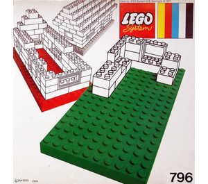 LEGO 2 Large Baseplates, Green/Yellow Set 796