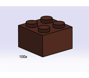 LEGO 2x2 Brown Bricks Set 3753