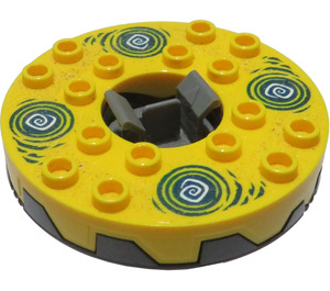 LEGO 6x6 Turntable with Yellow Top and Dark Blue Hypnobrai Decoration (98354 / 98354)