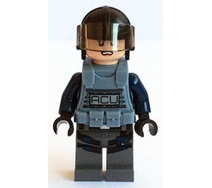 LEGO ACU, Female, Light Flesh, Black Helmet, And Sand Blue Armor Minifigure