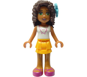 LEGO Andrea with Bright Light Orange Skirt, White Shirt with Pink Necklace Minifigure