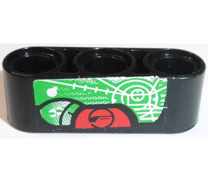 LEGO Beam 3 with Green and Red Display Screen Sticker (17141)