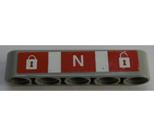 LEGO Beam 5 with Padlocks and Letter 'N' on Red Background with White Stripes Sticker (32316)