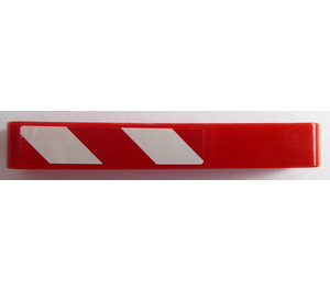 LEGO Beam 7 with Red and White Danger Stripes (Left) Sticker (16615)