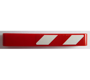 LEGO Beam 7 with Red and White Danger Stripes (Right) Sticker (16615)
