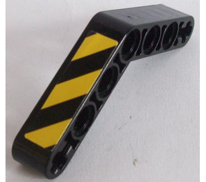 LEGO Beam Bent 53 Degrees, 4 and 4 Holes with Black and Yellow Stripes Sticker (32348)