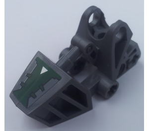 LEGO Bionicle Toa Foot with Ball Joint with Dark Green Cover and White Triangle Sticker (32475)