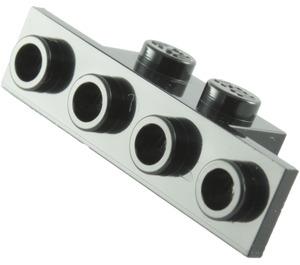 LEGO Black Bracket 1 x 2 - 1 x 4 without Rounded Corners (2436)