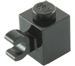 LEGO Noir Brique 1 x 1 avec Agrafe Horizontal (60476 / 65459)