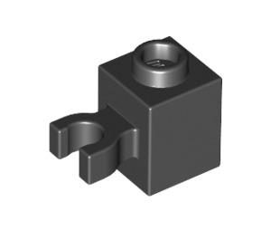 LEGO Black Brick 1 x 1 with Vertical Clip ('U' Clip, Solid Stud) (60475)