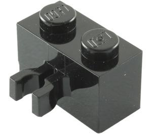 LEGO Black Brick 1 x 2 with Vertical Clip (Gap in Clip) (30237)