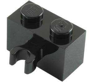 LEGO Black Brick 1 x 2 with Vertical Clip (Open 'O' clip) (30237 / 42925)