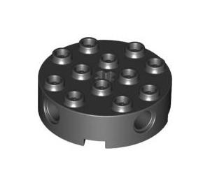 LEGO Black Brick 4 x 4 Round with Holes (6222)