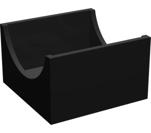 LEGO Black Container Box 4 x 4 x 2 with Hollowed-Out Semi-Circle (4461)