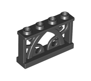 LEGO Black Iron Fence 1 x 4 x 2 with 4 Knobs (19121)