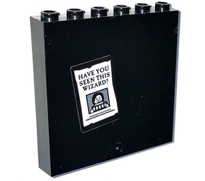 LEGO Black Panel 1 x 6 x 5 with 'HAVE YOU SEEN THIS WIZARD?' Sticker
