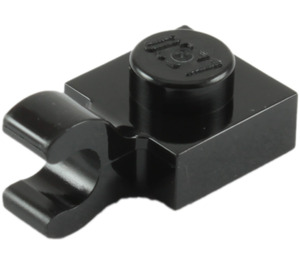 LEGO Black Plate 1 x 1 with Horizontal Clip (Thick Open 'O' Clip) (52738 / 61252)