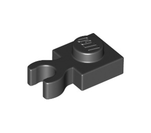 LEGO Black Plate 1 x 1 with Vertical Clip (Thick Open 'O' Clip) (44860 / 60897)