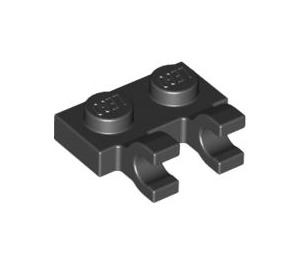 LEGO Black Plate 1 x 2 with Horizontal Clips (flat fronted clips) (60470)