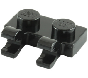 LEGO Black Plate 1 x 2 with Horizontal Clips (Open 'O' Clips) (49563 / 60470)