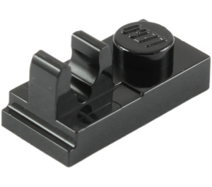 LEGO Black Plate 1 x 2 with Top Clip (92280)