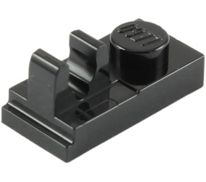 LEGO Black Plate 1 x 2 with Top Clip with Gap (92280)