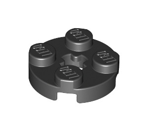 LEGO Black Plate 2 x 2 Round with Axle Hole (with 'X' Axle Hole) (4032)