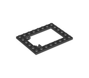 LEGO Black Plate 6 x 8 Trap Door Frame Flush Pin Holders (92107)