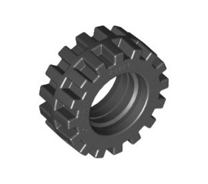 LEGO Black Small Tire Ø15 X 6mm with Offset Tread with Band Around Center of Tread (87414)