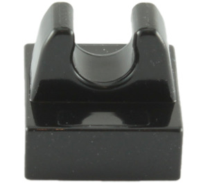 LEGO Black Tile 1 x 1 with Clip (No Cut in Center) (2555 / 12825)