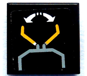 LEGO Black Tile 1 x 1 with Sticker from Set 8479 with Groove
