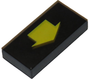 LEGO Black Tile 1 x 2 with Arrow Short Yellow with Groove