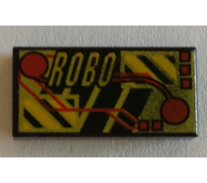 LEGO Black Tile 1 x 2 with 'Robo' & Electronic Circuitry Decoration with Groove