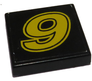 """LEGO Black Tile 2 x 2 with """"9"""" Sticker with Groove"""