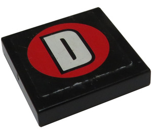 """LEGO Black Tile 2 x 2 with """"D"""" in Round Red Sticker with Groove"""