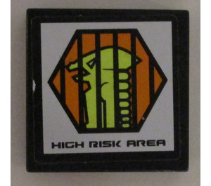 """LEGO Black Tile 2 x 2 with """"High Risk Area"""" and Alien Head Sticker with Groove"""