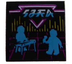 LEGO Black Tile 2 x 2 with Retro Future Filter with Groove (75465)