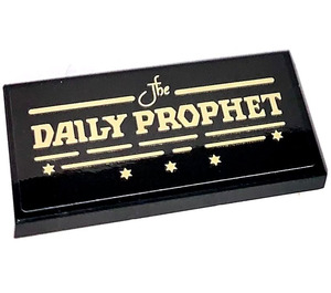 LEGO Black Tile 2 x 4 with The DAILY PROPHET Sticker