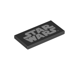 LEGO Black Tile 2 x 4 with White Star Wars Logo (69536)