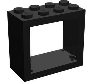LEGO Black Window 2 x 4 x 3 with Rounded Holes (4132)