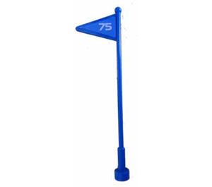 """LEGO Blue Antenna 1 x 8 with Flag with """"75"""" Sticker"""