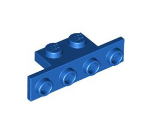 LEGO Blue Bracket 1 x 2 - 1 x 4 without Rounded Corners (2436)