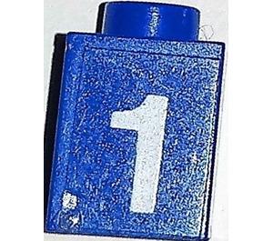 """LEGO Blue Brick 1 x 1 with """"1"""" Sticker"""