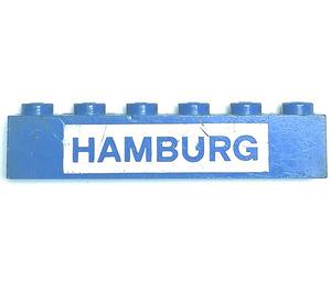"LEGO Blue Brick 1 x 6 with ""HAMBURG"""