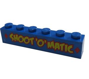 "LEGO Blue Brick 1 x 6 with ""SHOOT 'O' MATIC"" Sticker"