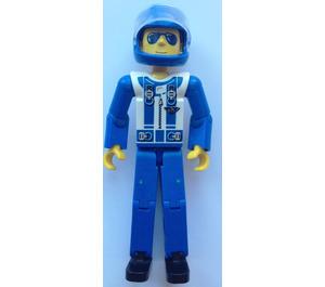 LEGO Blue Legs, White Top with Zipper & Shoulder Harness Pattern Technic Figure