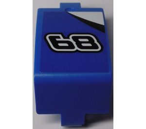 LEGO Blue Panel Curved 3 x 6 x 3 with '68' and Black and White Upper Corner (Right) Sticker