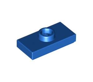 LEGO Blue Plate 1 x 2 with 1 Stud (with Groove and Bottom Stud Holder) (15573)