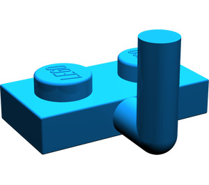 LEGO Blue Plate 1 x 2 with Hook (5mm Horizontal Arm)